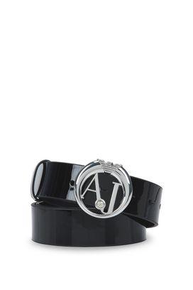 Armani Cinture in pelle Donna cintura in vernice con fibbia logo