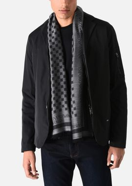 Armani Stoles Men wool blend scarf with chequered motif