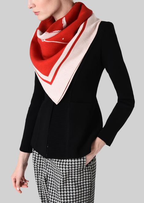 NECK SCARF IN JACQUARD WOOL: Foulards Women by Armani - 2