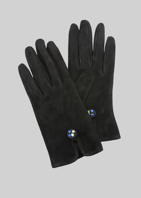 LEATHER GLOVES WITH BUTTON : Gloves Women by Armani - 1