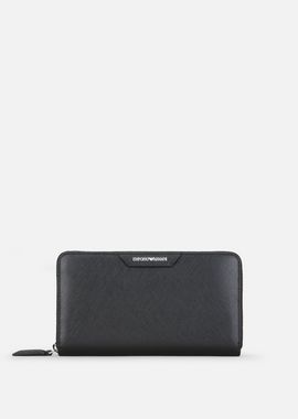 Armani Wallets Women zip around wallet in saffiano leather
