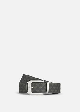 Armani Belts Men all-over logo print pvc and leather belt