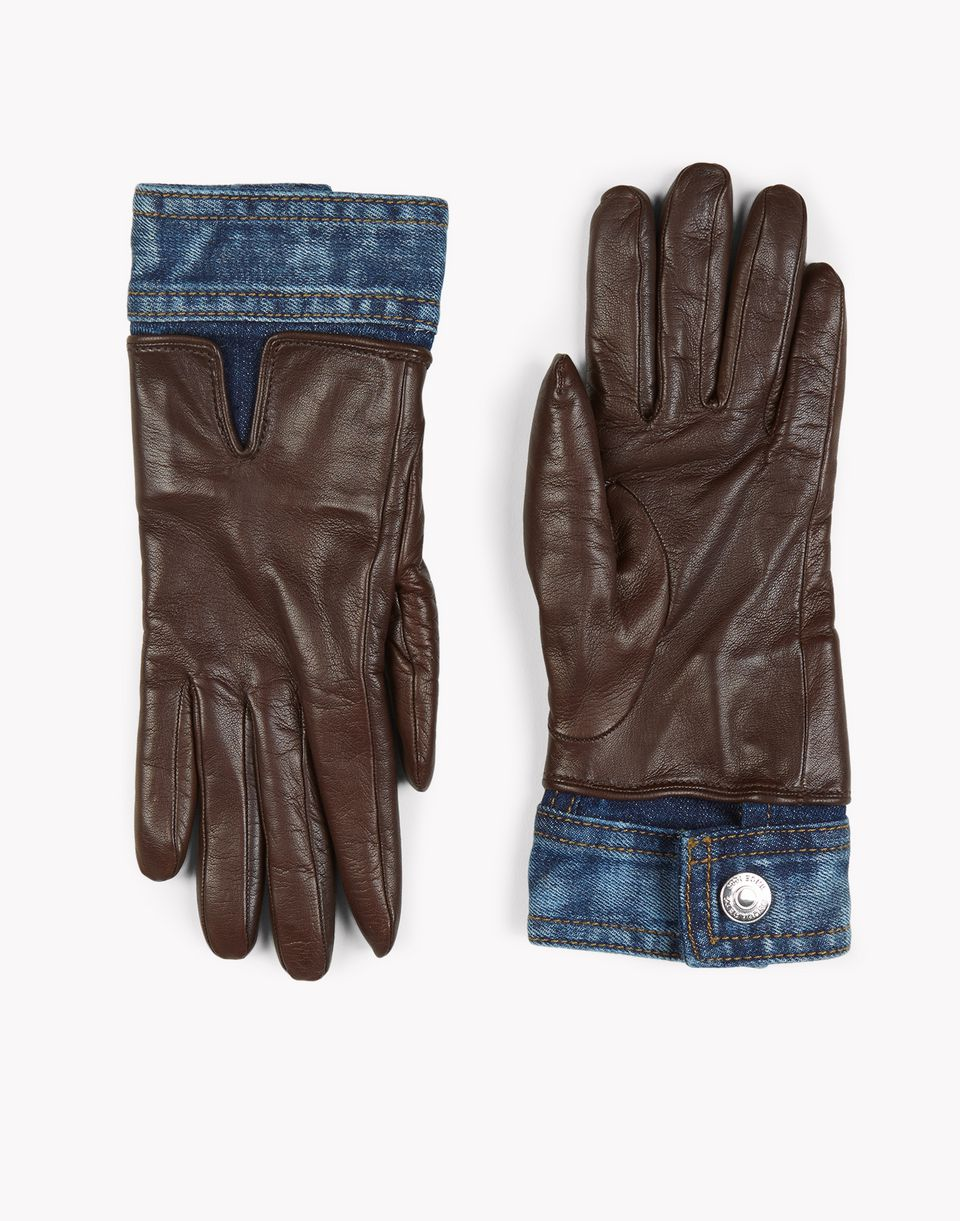 contrasted denim leather gloves other accessories Woman Dsquared2