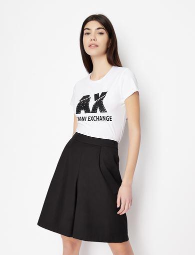 아르마니 익스체인지 Armani Exchange SLASHED STUD LOGO TEE,White