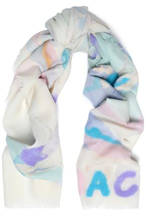 코치 울 스카프 오프 화이트 COACH Flocked printed wool scarf,Off-white