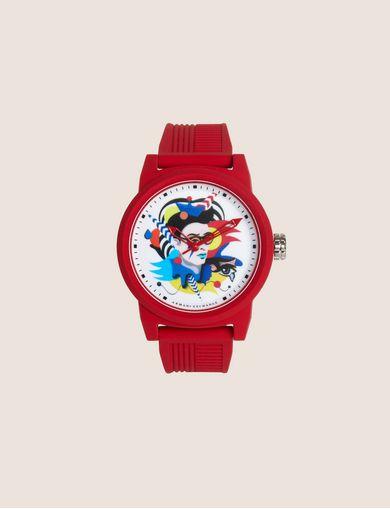 아르마니 익스체인지 실리콘 손목 시계 레드 Armani Exchange AX STREET ART SERIES VALENTINA BROSTEAN WATCH,Red