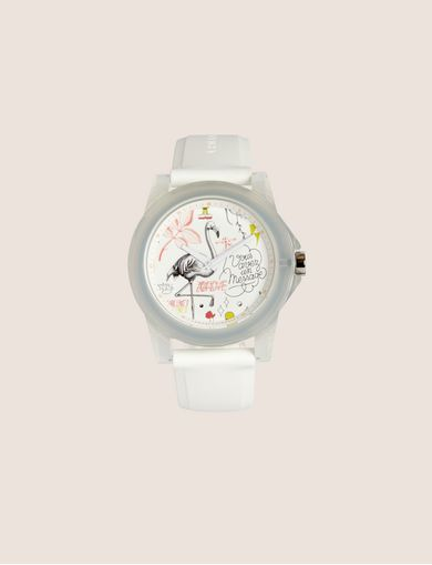 아르마니 익스체인지 Armani Exchange AX STREET ART SERIES LESJEANCLODE SLEEK WATCH,White
