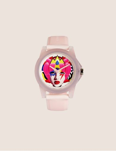 아르마니 익스체인지 Armani Exchange AX STREET ART SERIES VALENTINA BROSTEAN SLEEK WATCH,Pink