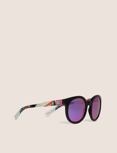 아르마니 익스체인지 Armani Exchange STREET ART SERIES VALENTINA BROSTEAN ROUND SUNGLASSES,Purple