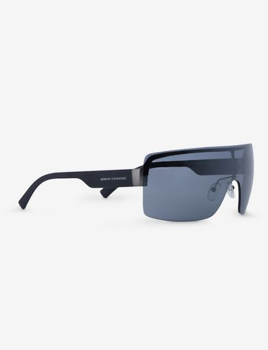 아르마니 익스체인지 Armani Exchange SILVER MIRROR SHIELD SUNGLASSES,Black