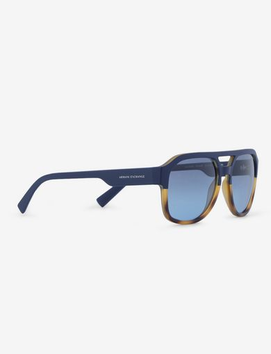 아르마니 익스체인지 Armani Exchange BICOLOR TORTOISE RECTANGULAR AVIATOR,Blue