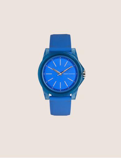 아르마니 익스체인지 Armani Exchange BLUE SILICONE STRAP WATCH,Blue