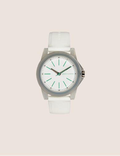 아르마니 익스체인지 Armani Exchange MINT AND WHITE SILICONE STRAP WATCH,White