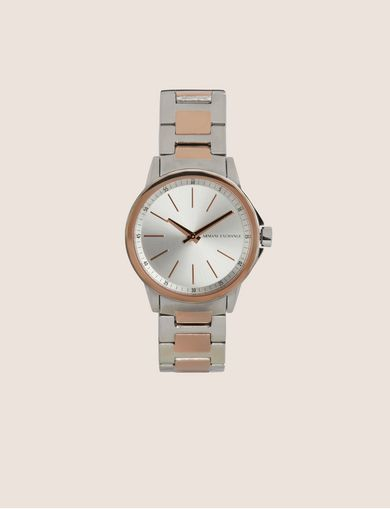 아르마니 익스체인지 Armani Exchange SILVER/ROSE GOLD-TONED BRACELET WATCH,Silver