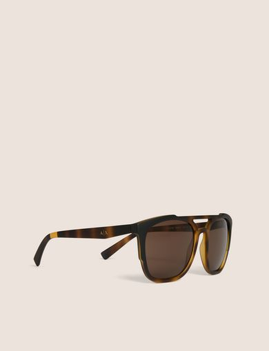 아르마니 익스체인지 Armani Exchange TORTOISE-EFFECT MODERN AVIATOR,Brown