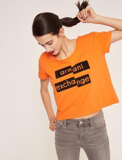 아르마니 익스체인지 Armani Exchange FRAGMENTED EMOJI CROP,Orange