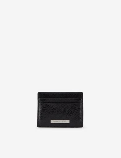 아르마니 익스체인지 Armani Exchange TEXTURED LOGO PLATE CARDCASE,Black
