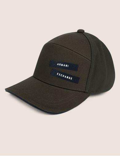 아르마니 익스체인지 Armani Exchange PEBBLED PATCH LOGO HAT,Dark Green