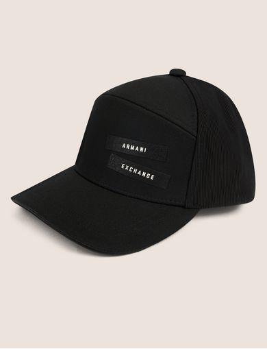 아르마니 익스체인지 Armani Exchange PEBBLED PATCH LOGO HAT,Black
