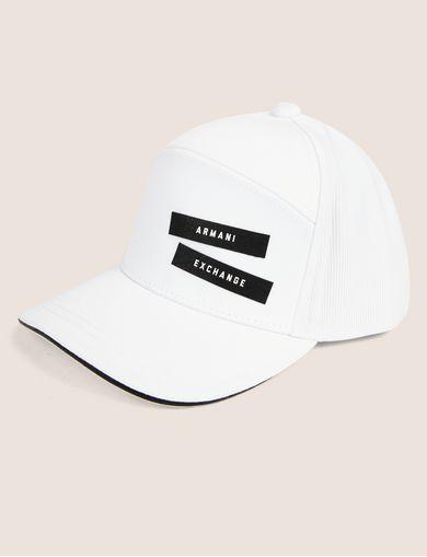 아르마니 익스체인지 Armani Exchange PEBBLED PATCH LOGO HAT,White