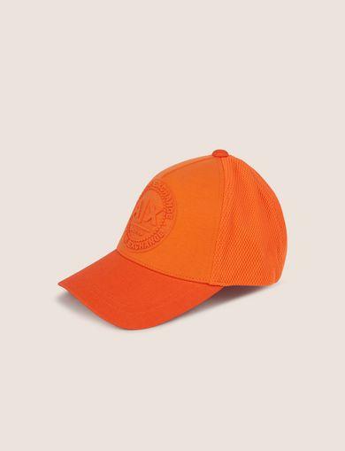 아르마니 익스체인지 Armani Exchange EMBOSSED LOGO MESH PANELED HAT,Orange