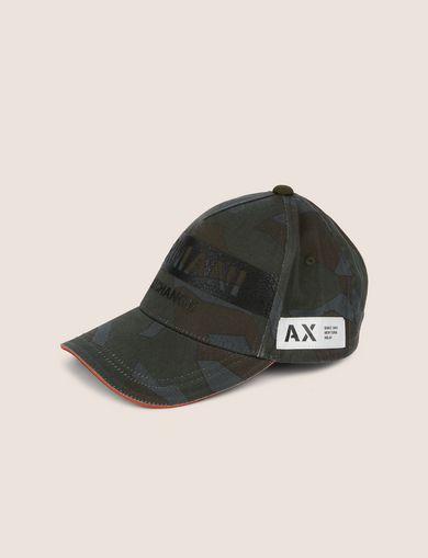 아르마니 익스체인지 Armani Exchange STENCIL LOGO GEO CAMO HAT,Dark Green