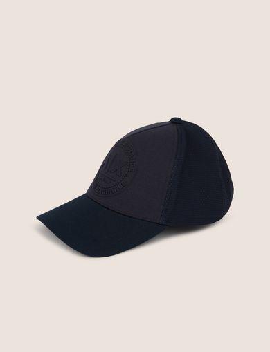 아르마니 익스체인지 Armani Exchange EMBOSSED LOGO MESH PANELED HAT,Navy Blue