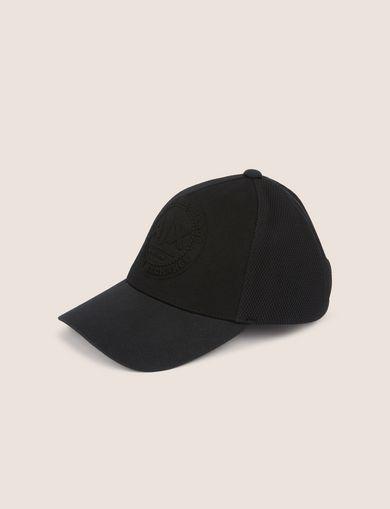 아르마니 익스체인지 Armani Exchange EMBOSSED LOGO MESH PANELED HAT,Black