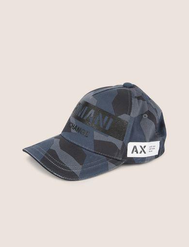 아르마니 익스체인지 Armani Exchange STENCIL LOGO GEO CAMO HAT,Blue