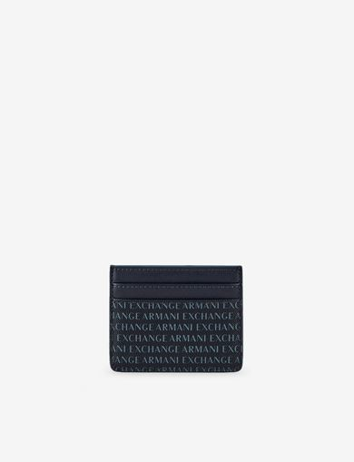 아르마니 익스체인지 Armani Exchange ALLOVER LOGO PRINT CARDCASE,Navy Blue