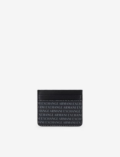 아르마니 익스체인지 Armani Exchange ALLOVER LOGO PRINT CARDCASE,Black
