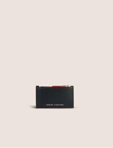 아르마니 익스체인지 Armani Exchange TOP ZIP BICOLOR CARDCASE,Black