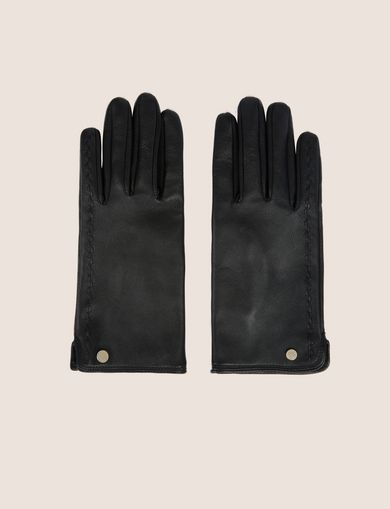 아르마니 익스체인지 Armani Exchange LEATHER DRIVING GLOVES,Black
