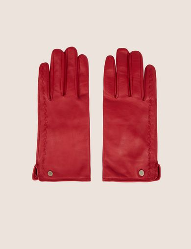 아르마니 익스체인지 Armani Exchange LEATHER DRIVING GLOVES,Red