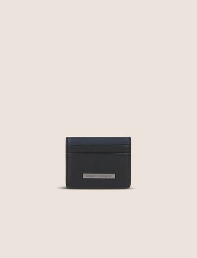 아르마니 익스체인지 Armani Exchange BICOLOR LOGO PLAQUE CARDCASE,Black