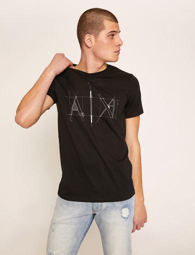 아르마니 익스체인지 Armani Exchange SLIM-FIT BLUEPRINT CREW,Black
