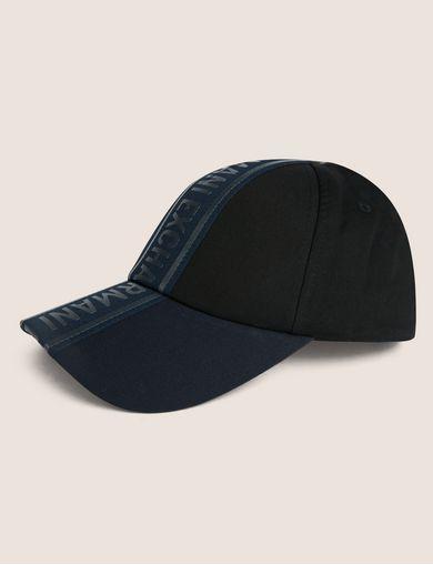 아르마니 익스체인지 Armani Exchange HIGH-SHINE LOGO TAPE HAT,Black