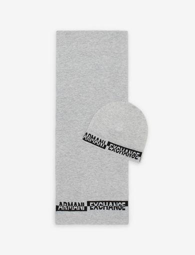 아르마니 익스체인지 Armani Exchange BICOLOR BEANIE AND RECTANGULAR SCARF SET,Grey