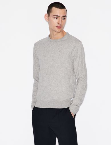 아르마니 익스체인지 Armani Exchange CLASSIC INSIGNIA CREWNECK SWEATER,Grey