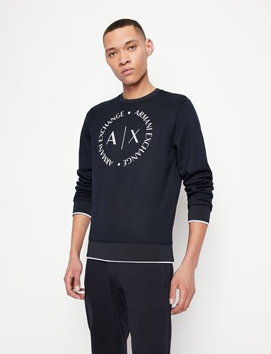 아르마니 익스체인지 Armani Exchange CLASSIC CIRCLE LOGO CREWNECK SWEATER,Navy Blue
