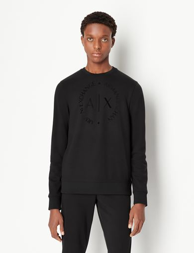 아르마니 익스체인지 Armani Exchange CLASSIC CIRCLE LOGO CREWNECK SWEATER,Black