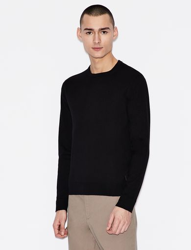아르마니 익스체인지 Armani Exchange CLASSIC INSIGNIA CREWNECK SWEATER,Black