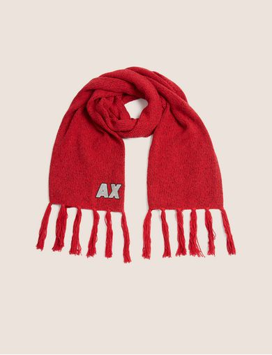 아르마니 익스체인지 Armani Exchange EMBROIDERED GLITTER FRINGED SCARF,Red