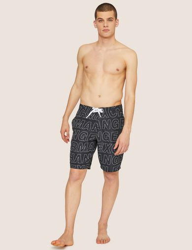아르마니 익스체인지 Armani Exchange ALLOVER LOGO OUTLINE SWIM SHORT,Black