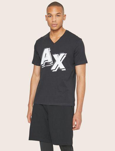 아르마니 익스체인지 Armani Exchange SUPERIMPOSED BLOCK LOGO V-NECK,Black