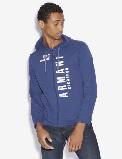 아르마니 익스체인지 Armani Exchange NYC LOGO ZIP-UP HOODIE,Blue