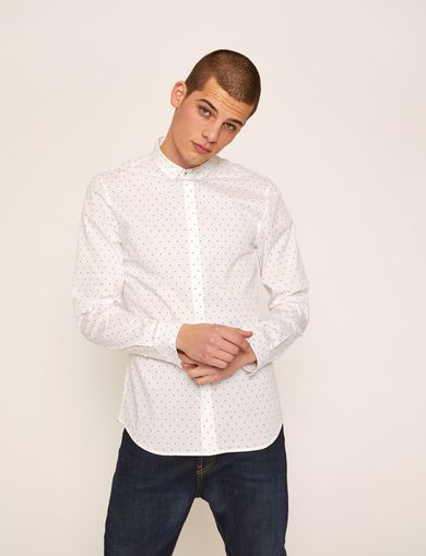 아르마니 익스체인지 Armani Exchange SLIM-FIT LOGO MICRODOT STRETCH SHIRT,White