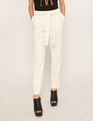 아르마니 익스체인지 Armani Exchange FINISHED WAIST PLEATED TROUSER,White