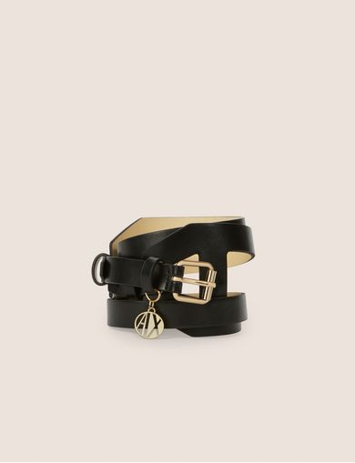 아르마니 익스체인지 Armani Exchange CAGE BELT WITH LOGO CHARM,Black