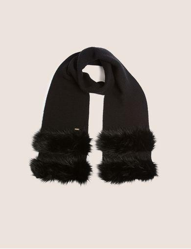 아르마니 익스체인지 Armani Exchange FAUX-FUR STRIPED WOOL-BLEND SCARF,Black